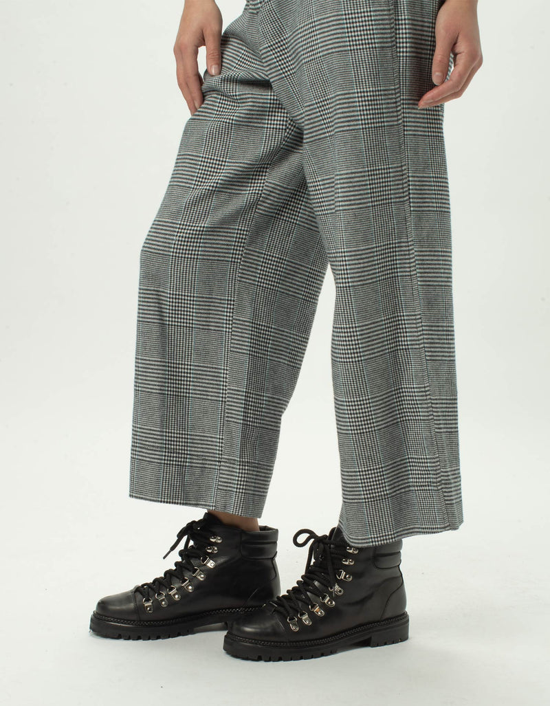 High Rise Relax Pants Grey Plaid - Sale
