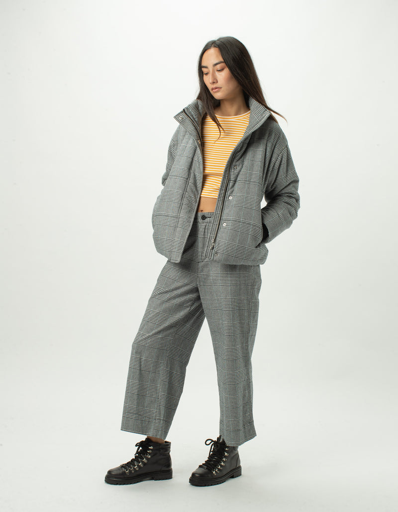 High Rise Relax Pants Grey Plaid