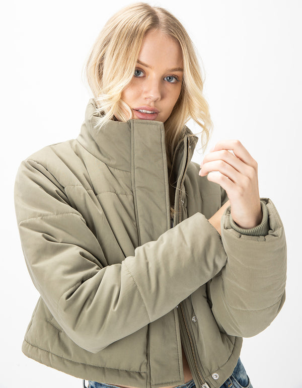 Puff Club Crop Jacket Sage