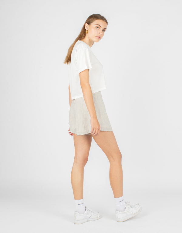 Aura Short White Linen Stripe - Sale