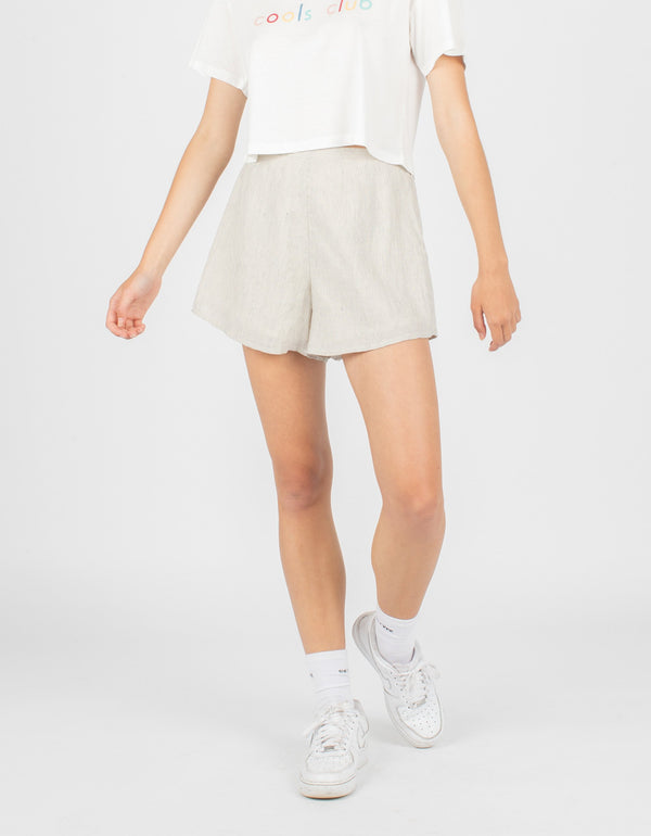 Aura Short White Linen Stripe