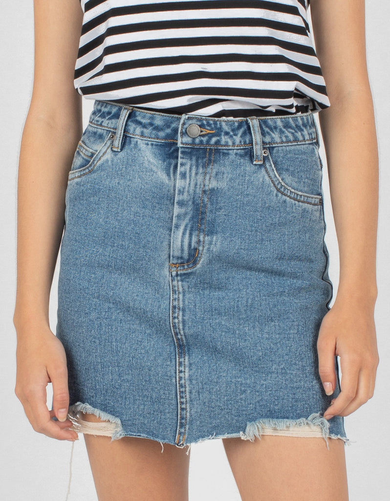 1d12769709 High Rise Jean Skirt Rebel Rinse - Sale – Cools Club