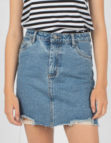 High Rise Jean Skirt Rebel Rinse