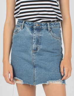 High Rise Jean Skirt Rebel Rinse - Sale