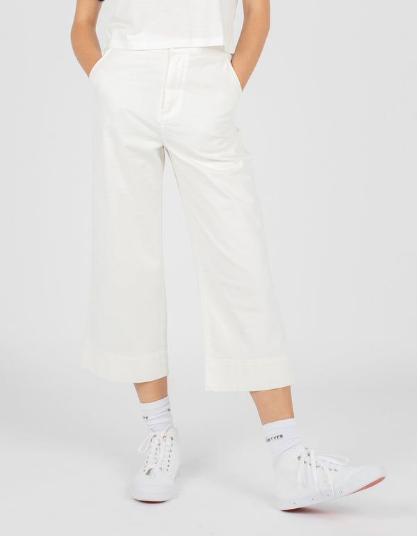 High Rise Relax Pant White