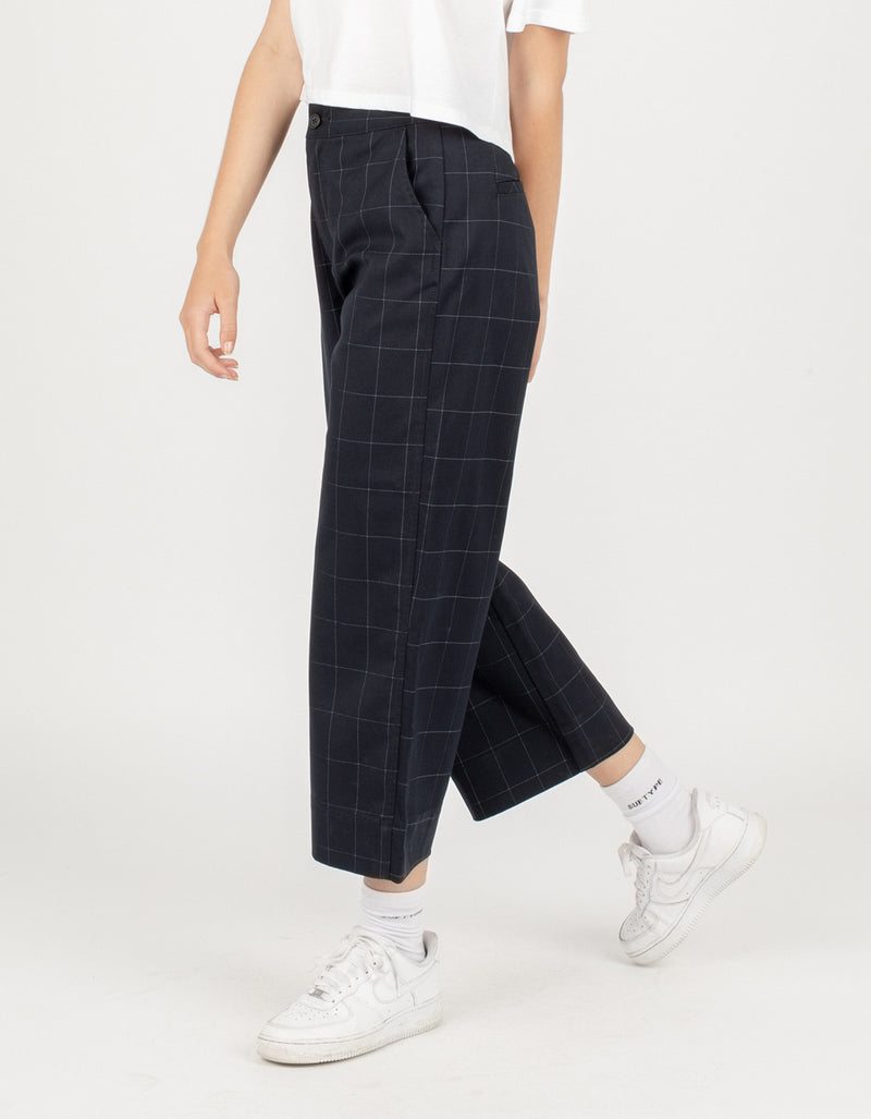 High Rise Relax Pants Midnight Plaid - Sale