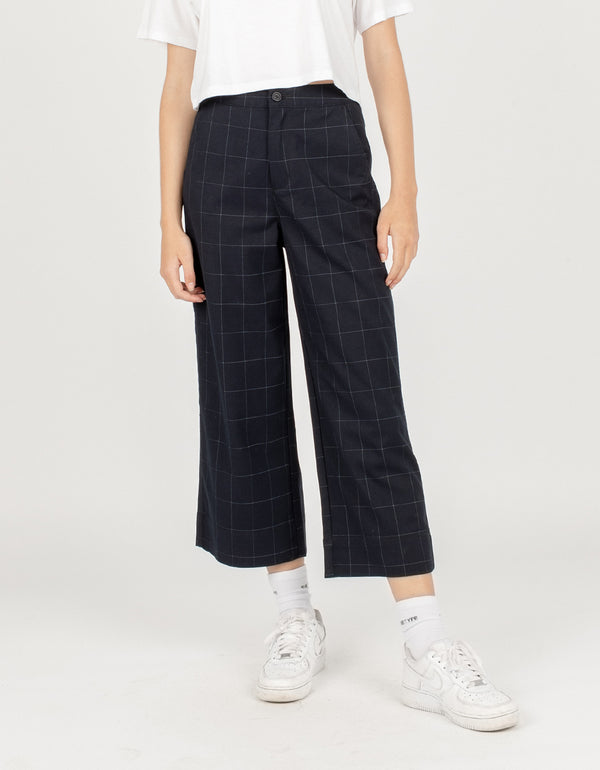 High Rise Relax Pants Midnight Plaid