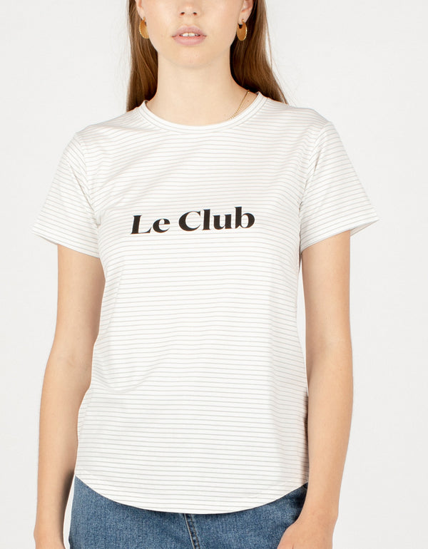 Le Club Classic Tee White Stripe - Sale