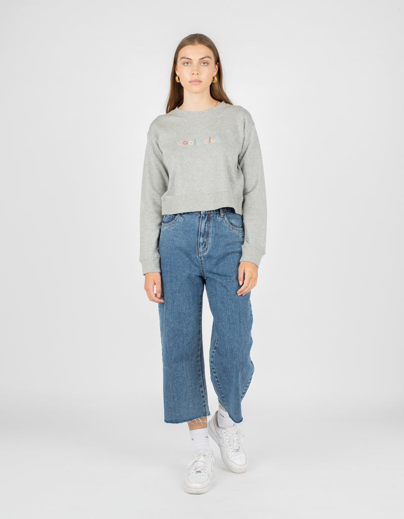 Member Crop Sweatshirt Grey Melange - Sale