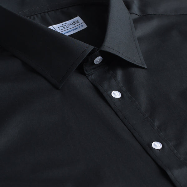 Black Twill Stretch Signature Fit Semi Spread Collar Shirt
