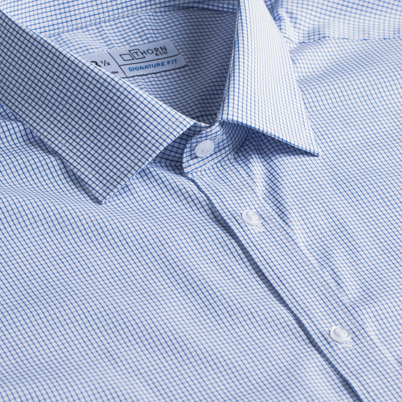 Light Blue Mini Check Stretch Signature Fit Semi Spread Collar Shirt