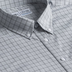 Grey Mini Plaid Stretch Signature Fit Button Down Collar Shirt