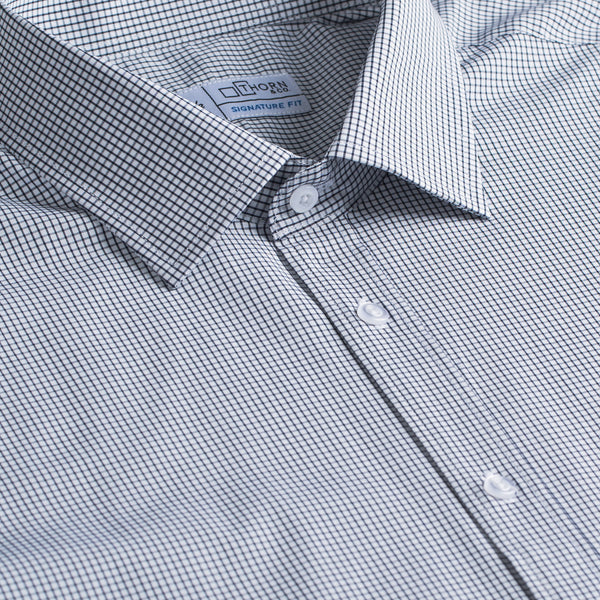 Navy Mini Check Stretch Signature Fit Semi Spread Collar Shirt