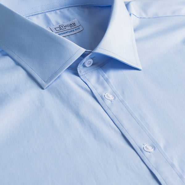 Light Blue Twill Stretch Signature Fit Semi Spread Collar Shirt