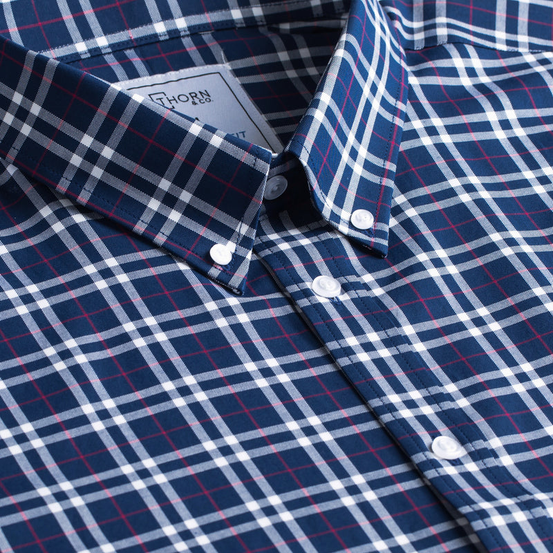 Navy and Red Plaid Signature Fit Button-Down Collar Short Sleeve Shirt