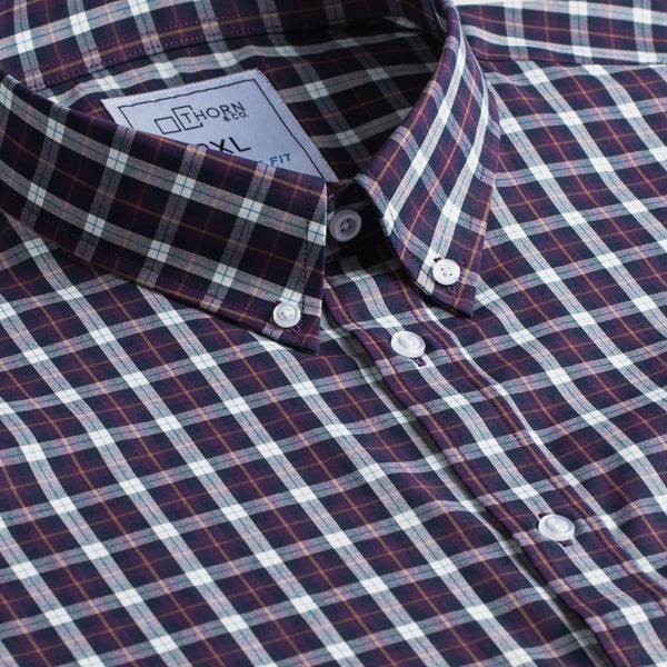 Maroon and Navy Plaid Signature Fit Button-Down Collar Short Sleeve Shirt