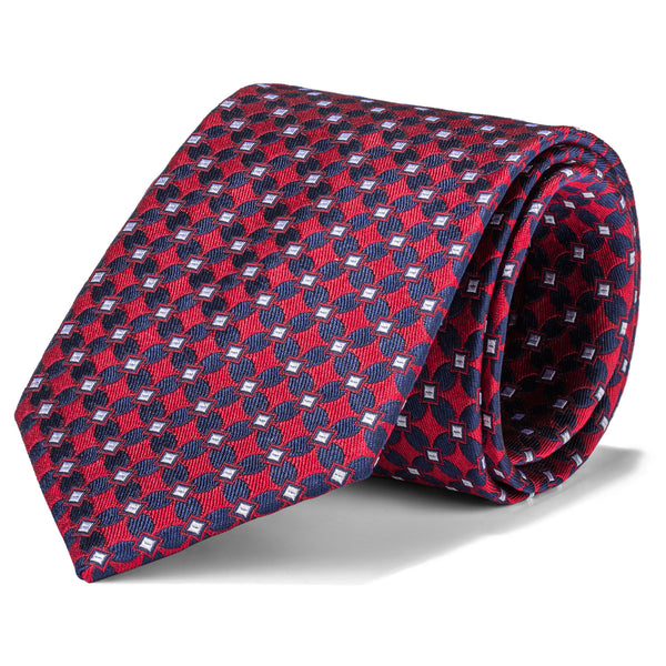 Red and Navy Geometric Chain Tie