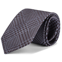 Brown and Silver Mixed Houndstooth Tie