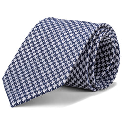 Navy and Silver Houndstooth Tie