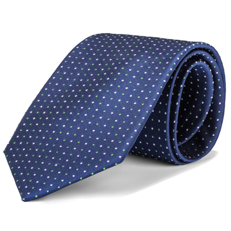 Navy and White Micro Dot Tie