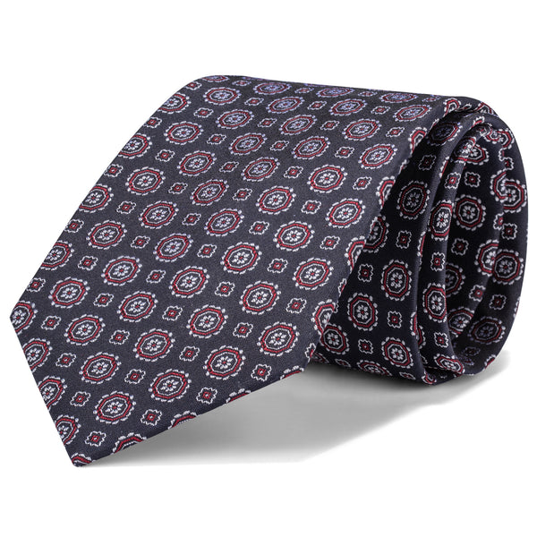 Charcoal and Red Mini Foulard Tie