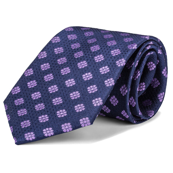 Navy and Purple Floral Tie