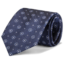 Navy and White Double Dot Tie
