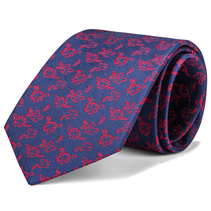 Navy and Red Floral Tie