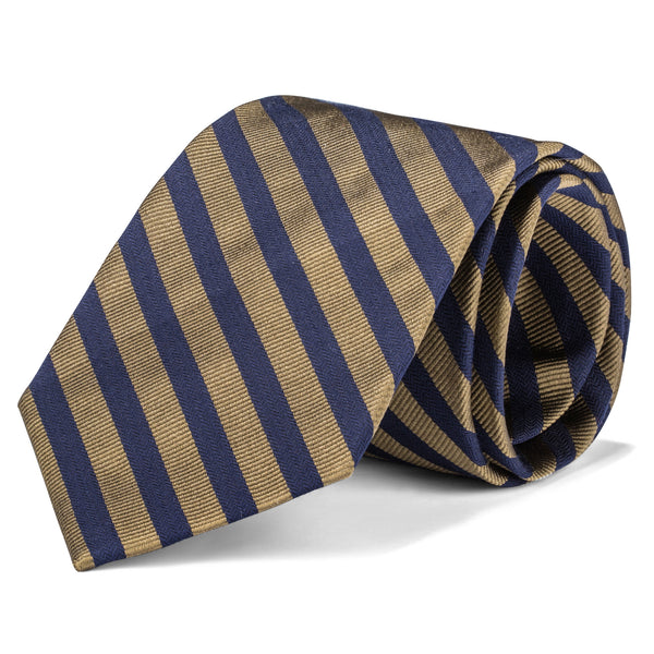 Navy and Gold Medium Stripe Tie