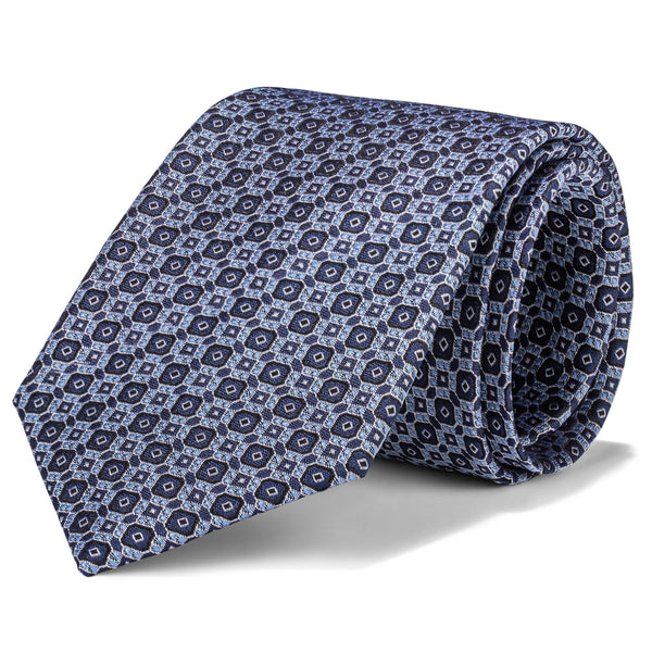 Light Blue and White Multi Geometric Tie
