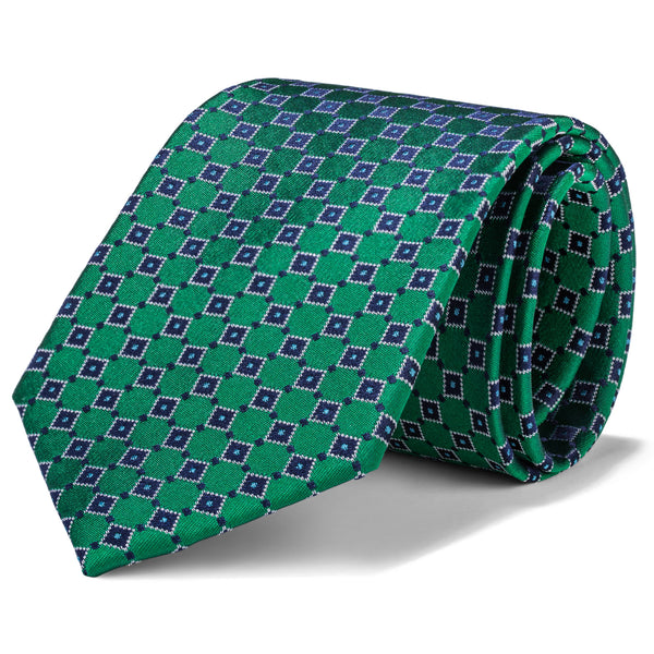 Green and Navy Mini Box Tie