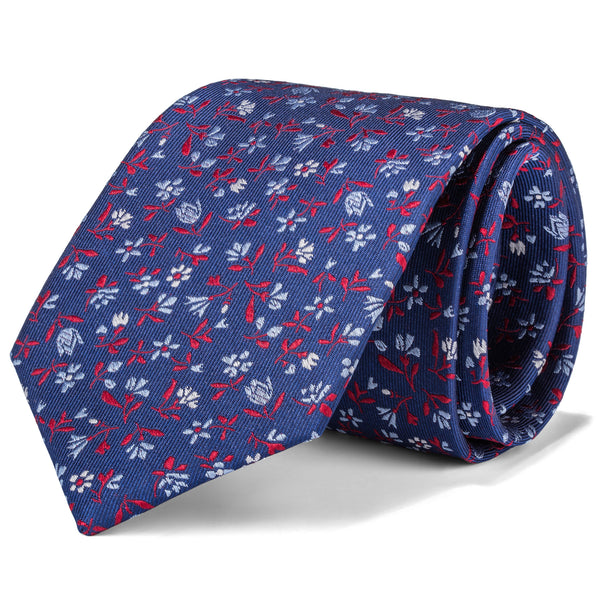 Navy and Red Micro Floral Tie