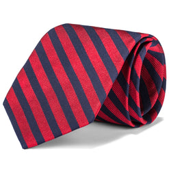 Red and Navy Medium Stripe Tie