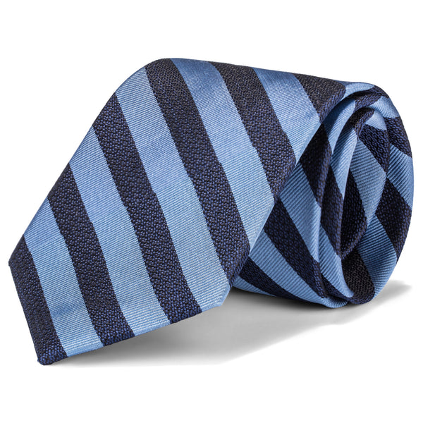 Navy and Light Blue Bold Stripe Tie