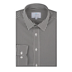 Black All-Stretch Check Slim Fit Semi Spread Collar Shirt