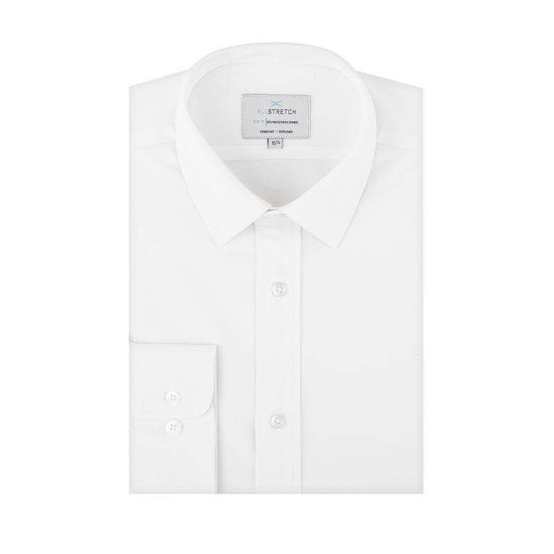 White All-Stretch Slim Fit Semi Spread Collar Shirt