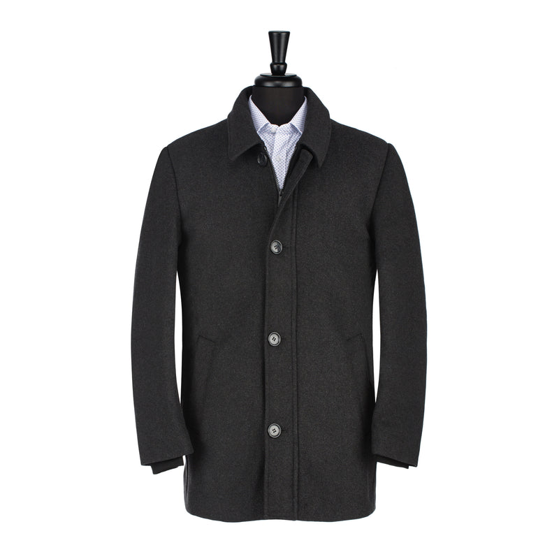 Charcoal Car Coat With Interior Bib