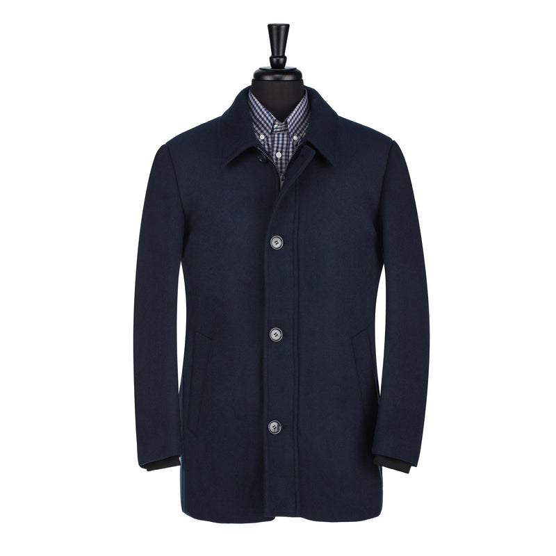 Navy Car Coat With Interior Bib