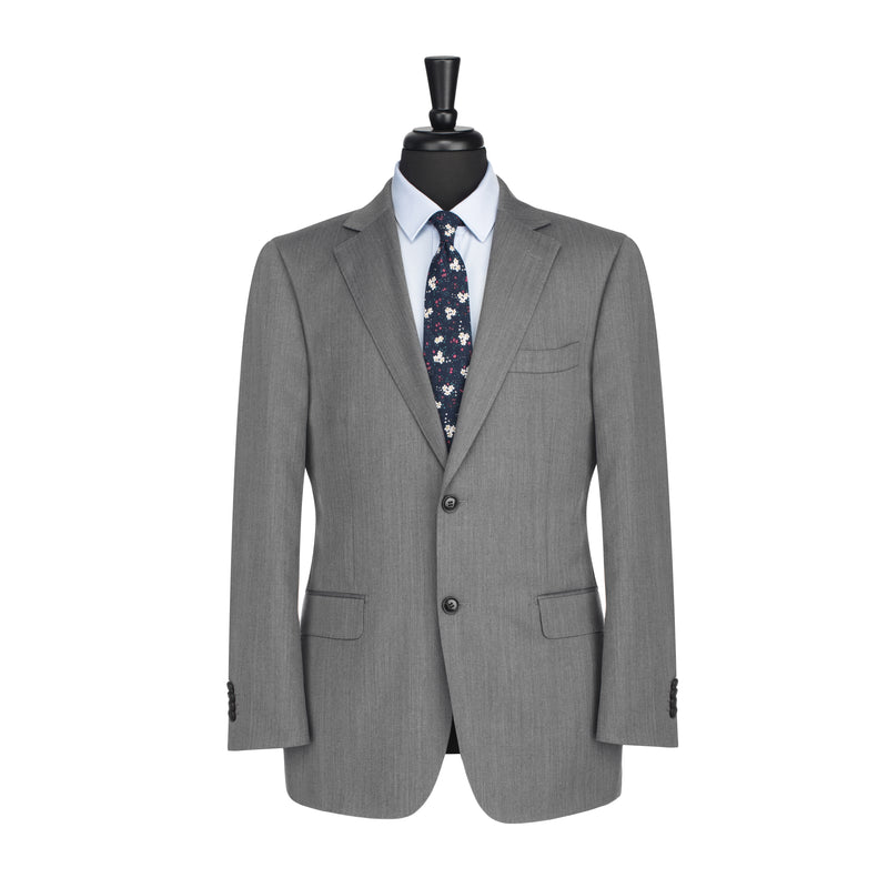 Grey Herringbone Tailored Fit Suit Jacket