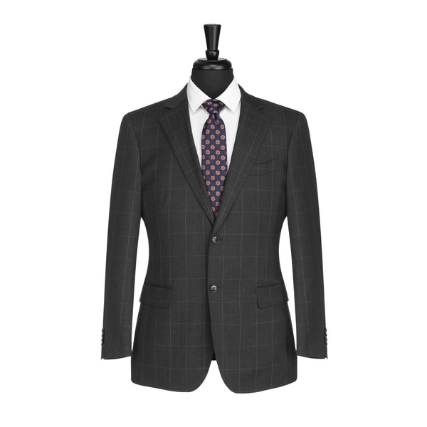 Charcoal and White Windowpane Tailored Fit Suit Jacket