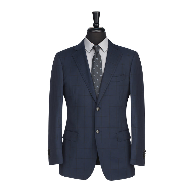 Navy and Black Windowpane Tailored Fit Suit Jacket