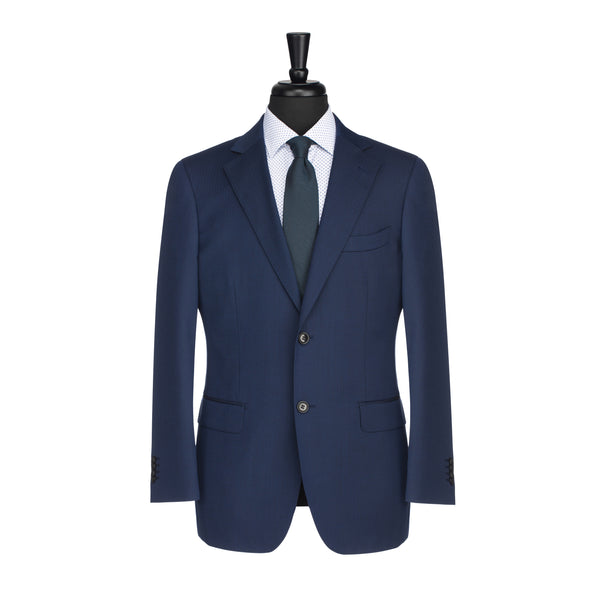 Blue Herringbone Tailored Fit Suit Jacket