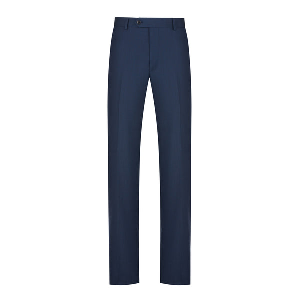Blue Herringbone Tailored Fit Suit Pant