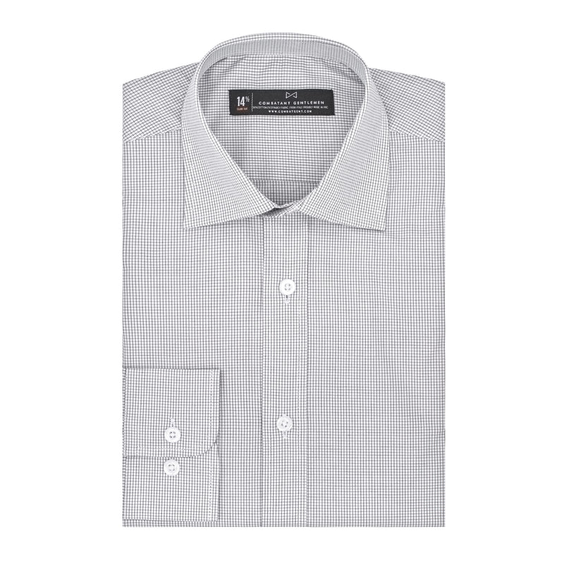 Black and White Windowpane Athletic Fit Wide Spread Collar Shirt
