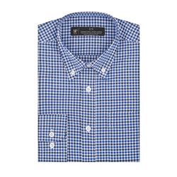 Blue and Black Gingham Athletic Fit Button-Down Collar Shirt