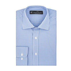 Light Blue and White Check Stretch Slim Fit Wide Spread Collar Shirt
