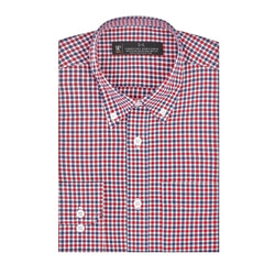 Blue and Red Gingham Athletic Fit Button-Down Collar Shirt