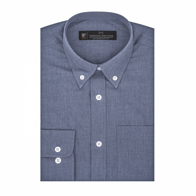 Slate Blue Chambray Athletic Fit Button-Down Collar Shirt