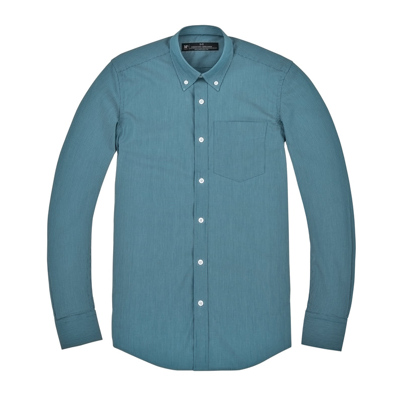 Emerald Mini Check Stretch Athletic Fit Button-down Collar Shirt
