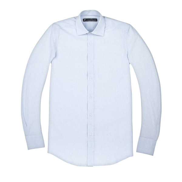 Light Blue and White Windowpane Slim Fit Wide Spread Collar Shirt